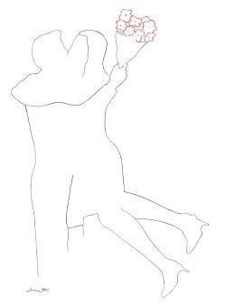 figurative art, figurative drawing, romantic drawing, artist dave white, line drawing, hugging drawing