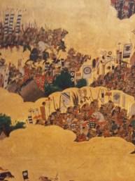 Scene from the folding screen depicting the Summer War of Osaka, Osaka Castle