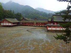 The Itsukushima Shrine on Miyajima at low tide