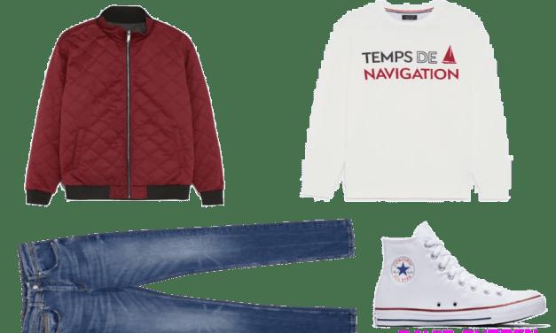 Zestaw #1: bomberka + biała bluza + niebieskie dżinsy