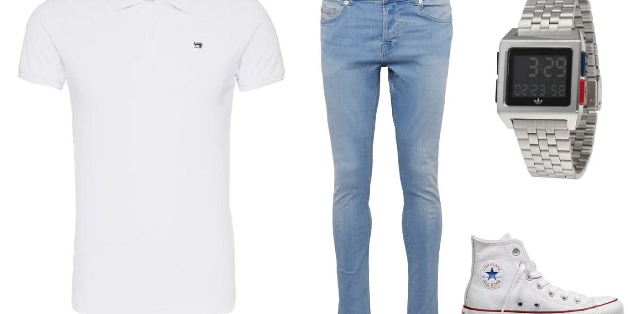 Zestaw #4: Białe polo + niebieskie dżinsy
