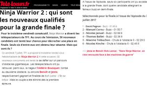 Ninja Warrior, Juillet 2017, Télé Loisir, Cannes