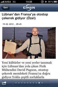 Article sur mon retour du Liban en autostop Février 2012, Cihan, Istanbul (Turquie)