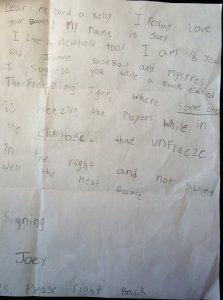 Ballpark Mysteries fan mail from Joey