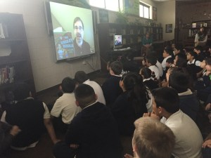 Author David A. Kelly doing a Skype school visit.