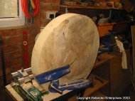 Turning large spalted sycamore dish