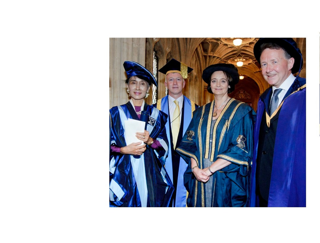 Aung San Suu Kyi becoming an Honorary fellow of Liverpool John Moores University - conferred in Mr.Speaker's House, Westminster, 2012