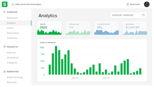 Sellfy analytics