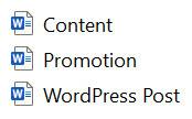 Word doc frameworks
