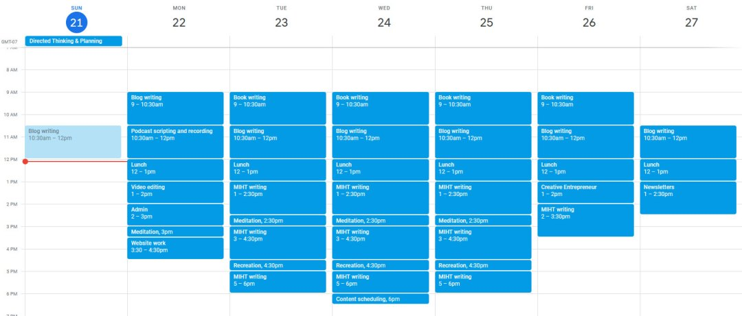 Schedule for week of March 21, 2021