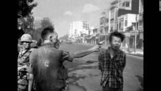 South Vietnamese Gen. Nguyen Ngoc Loan, chief of the national police, fires his pistol, shoots, executes into the head of suspected Viet Cong officer Nguyen Van Lem (also known as Bay Lop) on a Saigon street Feb. 1, 1968, early in the Tet Offensive. (AP Photo/Eddie Adams)