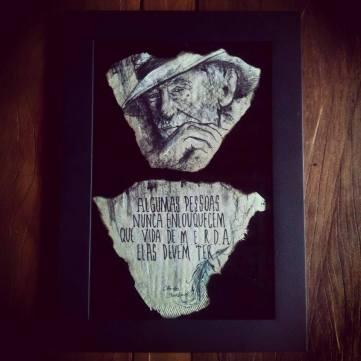 Trabalho inspirado em imagem e frase de Charles Bukowski (Foto: Kemmy Fukita)