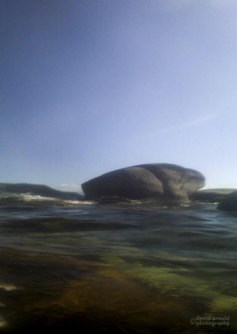 Small Granite Boulder at Water Level, Chimney Beach, Lake Tahoe, Nevada