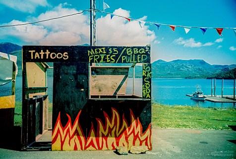 Tattoo Stand, Metlakatla Island, Alaska. (Kodak EliteChrome 100 EB2 film, process C-41).