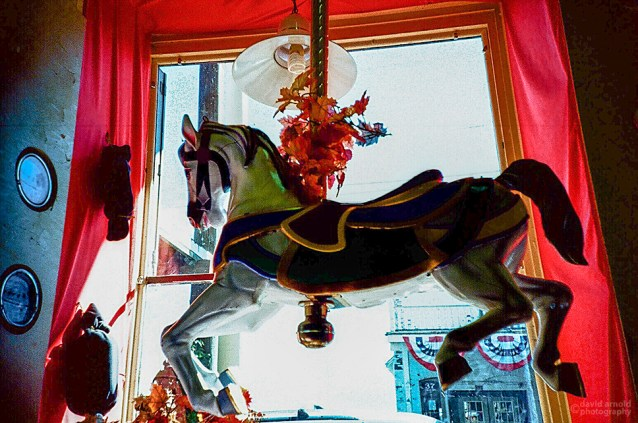 Carousel Horse, Shop Window, Virginia City, Nevada. (Kodak Ektachrome E-100G film, process C-41).