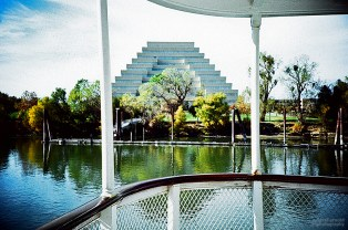 The Ziggurart from the Delta King, Sacramento. (Kodak EliteChrome EB film, process C-41)