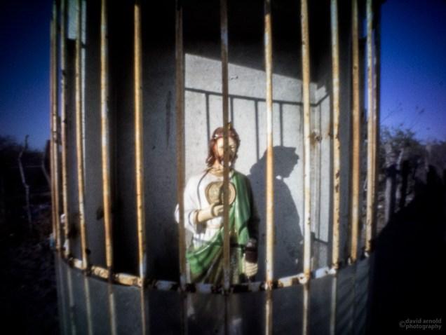 Caged Statue, Shrine Near El Cien, Highway 1, Baja California Sur, Mexico