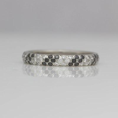 Black and white diamond platinum ring