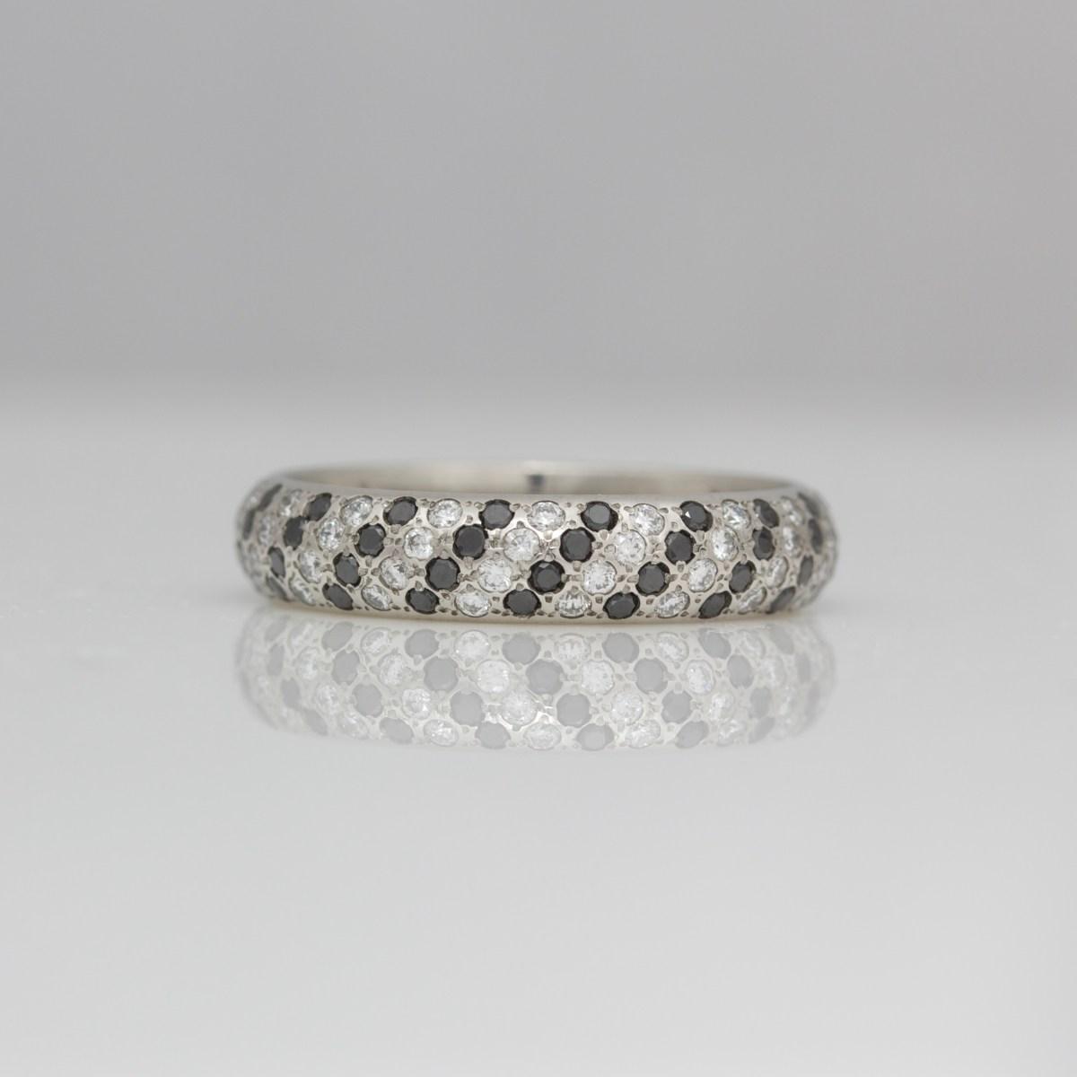 Rubies & black diamonds pavé set in platinum ring DAVID ASHTON