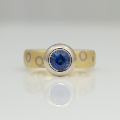 modern sapphire rub-over set gold ring