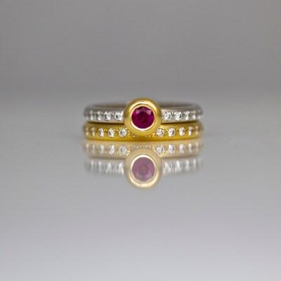 Ruby & diamonds ring set
