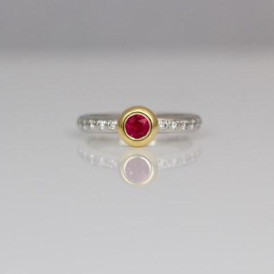 Ruby & diamond stacking ring