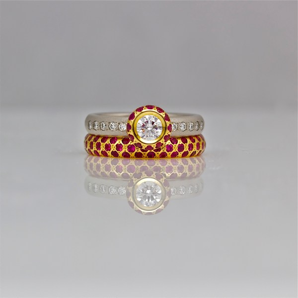 Ruby & diamond ring stack