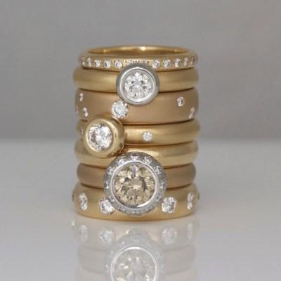 rose gold stacking rings David Ashton