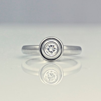 contemporary platinum engagement ring