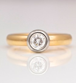 rcontemporary rubover set engagement ring