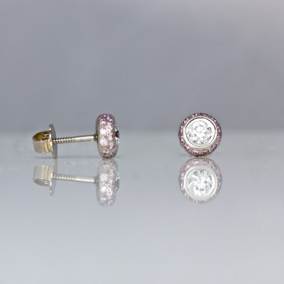 pink & white diamond platinum ear-studs