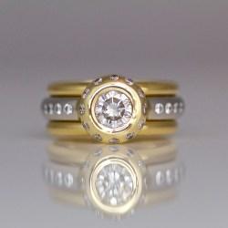 Diamond, platinum & 18ct stacking ring set