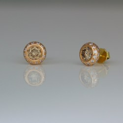 Pink champagne diamond rose gold ear-studs