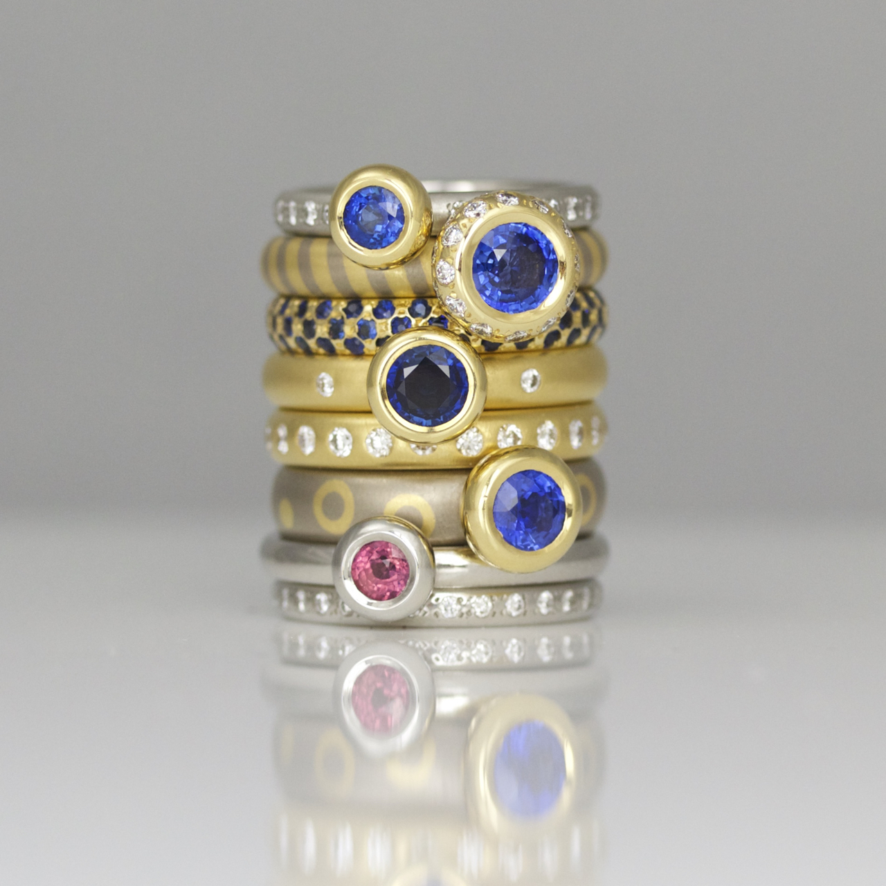Modern sapphire stacking rings