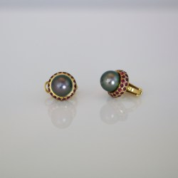Ruby & pearl ear-studs