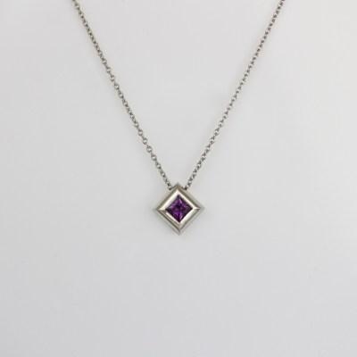 purple sapphire platinum necklace