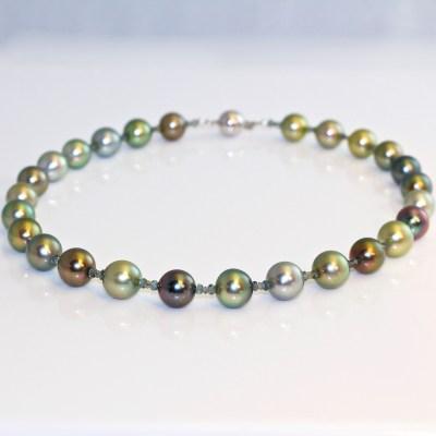 Tahitian pearl necklace fancy colour diamonds & sapphires
