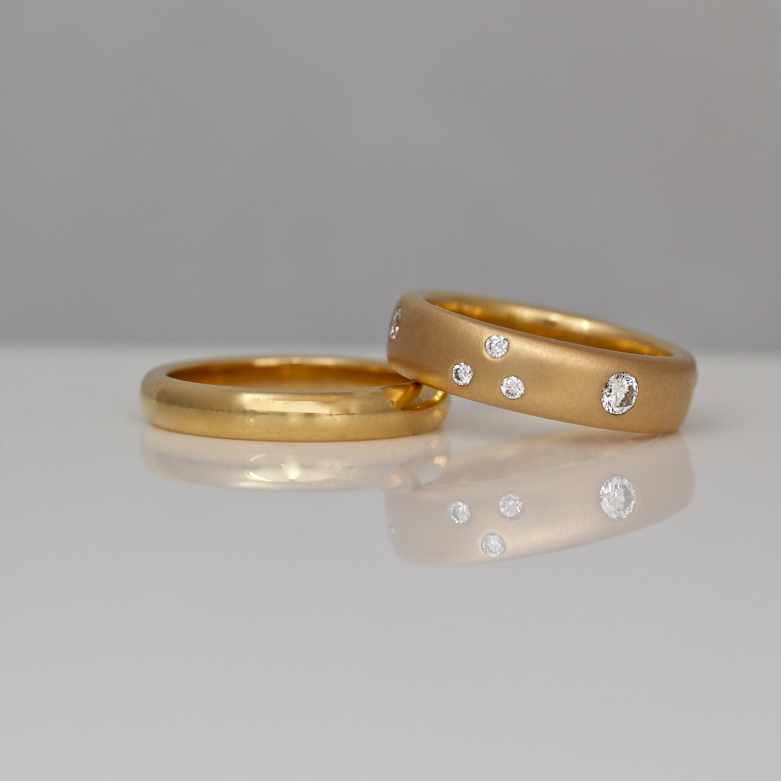 band gold rose set and his trio hers diamond engagement ring wedding bands