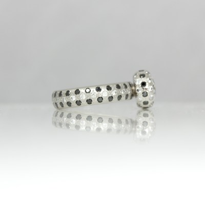 Black & white diamonds set in platinum ring