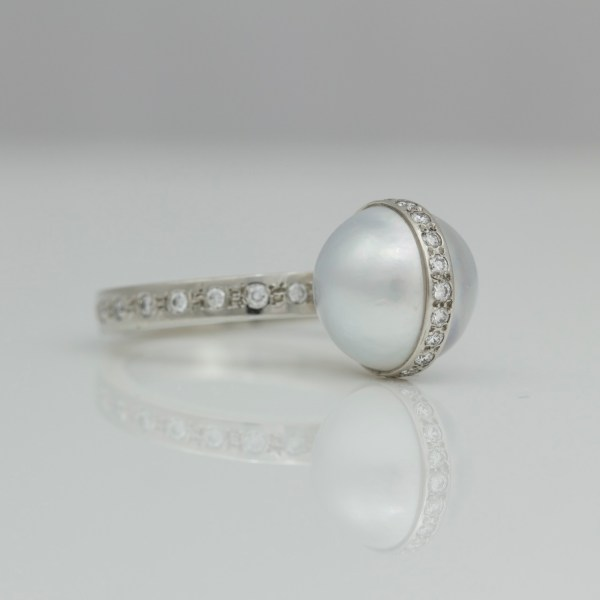 White pearl with Platinum & diamonds cocktail ring