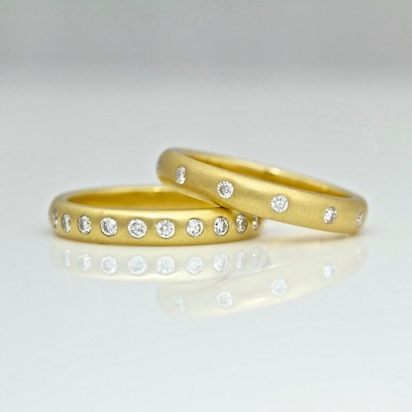 yellow gold rings flush set diamonds
