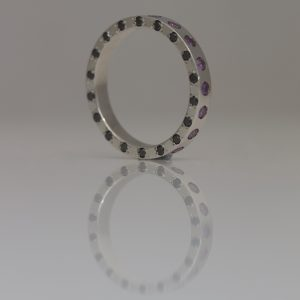 Purple & black diamond platinum ring
