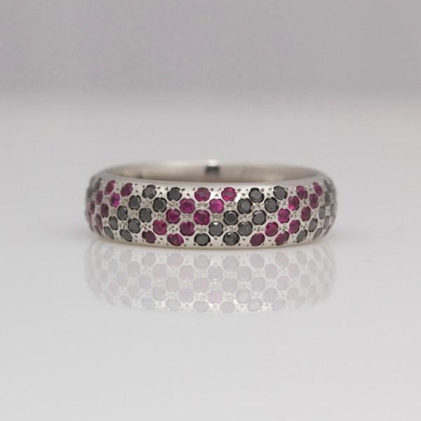 Rubies & black diamonds pavé set in platinum ring