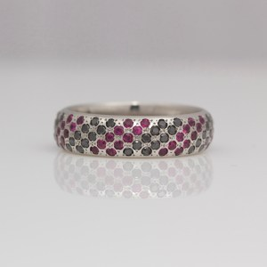 Rubies & black diamonds pavé set in platinum ring