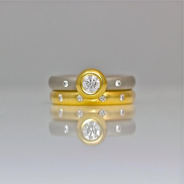 Platinum & 18ct yellow gold, diamond wedding and engagement set.