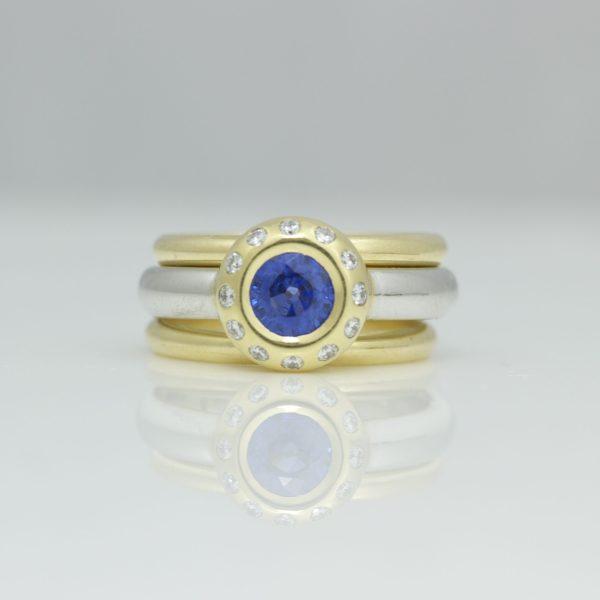 Sapphire & diamond diamond rub-over set in 18ct yellow gold & platinum ring