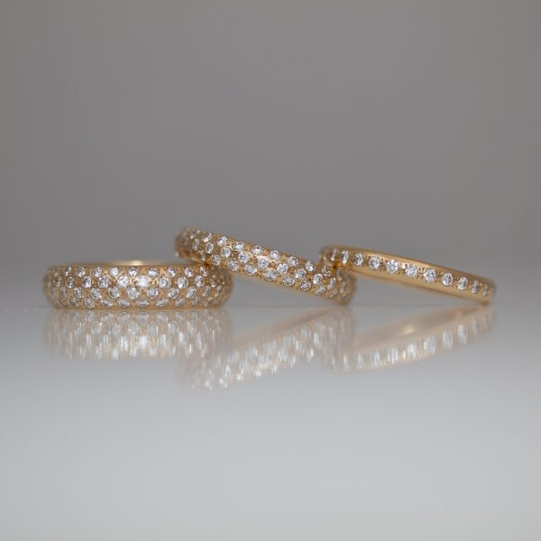 Pave set 18ct rose gold rings