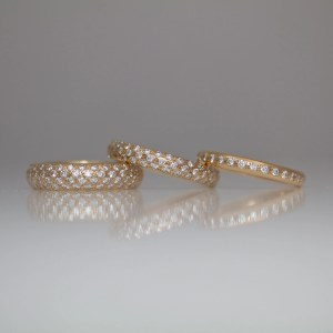 Pave set 18ct rose gold rings