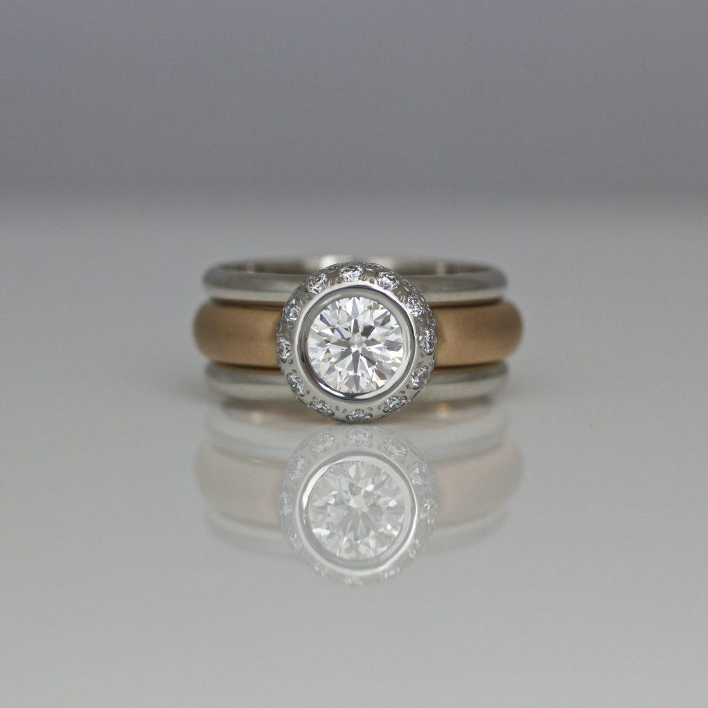 Perfect diamond, platinum & rose gold stacking ring set