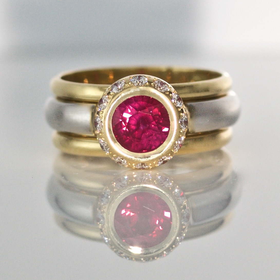 1.2ct Burmese ruby triple ring 1020